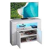 Dripex TV Lowboard Eckschrank Board Fernsehtisch mit LED Beleuchtung Weiß Hochglanz mit Türen 86x40x65 cm