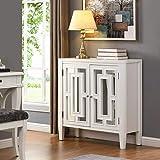 B&D home Kommode verspiegelt, Sideboard Vintage, Schrank weiß, aus Massivholz mit Spiegeltüren, für Schlafzimmer Wohnzimmer Flur Esszimmer, 82 x 87 x 34 cm, einfache Montage